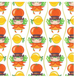 Seamless colorful pattern with cute little girl vector
