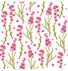 Seamless pattern with heather or calluna vulgaris vector