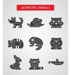 Set flat design geometric animals icons vector