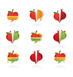 Set of abstract icons for rosh hashanah jewish vector