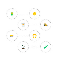 set of agricultural icons flat style symbols with vector image