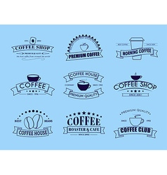 Set of coffee logo with ribbons vector image