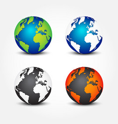 set of global in different color 4 seasons vector image