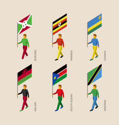 set of isometric 3d people with flags of africa vector image