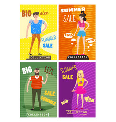 set of sale cards of young men s and women s vector image