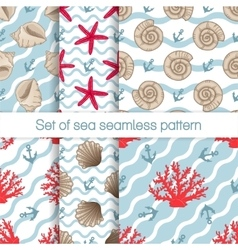 Set of sea seamless patterns with curves vector image