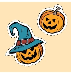 Set of stickers Halloween evil pumpkin vector