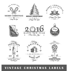 Set of vintage Christmas labels vector