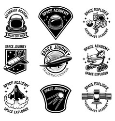 set space camp label templates design element vector image