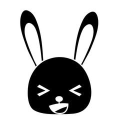 Silhouette happy rabbit head wild animal vector
