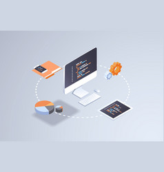 software web site design development concept vector image