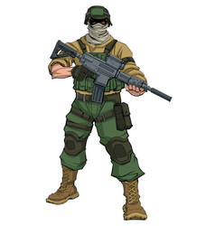 Soldier on patrol vector