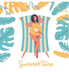 summer time banner design with woman sitting in vector image