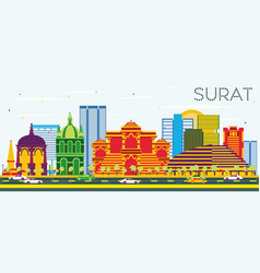 Surat skyline with color buildings and blue sky vector