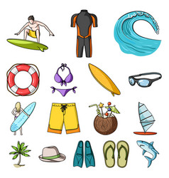 surfing and extreme cartoon icons in set vector image
