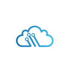technology connect with clouds symbol logo design vector image
