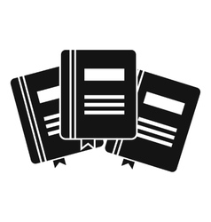 Three books with bookmarks icon simple style vector