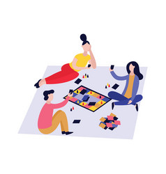 Three friends playing board game together vector