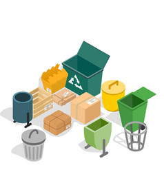 Trash can concept banner isometric style vector