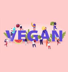 vegan food concept tiny men and women characters vector image