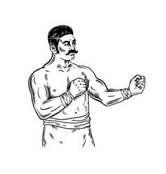 Vintage boxer engraving vector