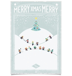 Vintage christmas card with playing child vector