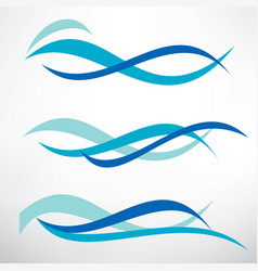 Water wave set of stylized symbols design vector