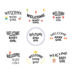 Welcome baby girl Baby shower design Baby girl vector