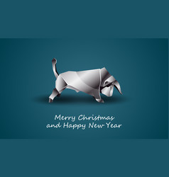 white polygonal bull as a symbol chinese new vector image