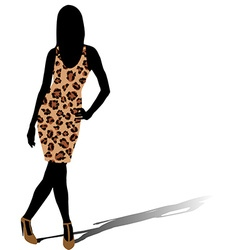 Woman silhouette in leopard skin dress vector image