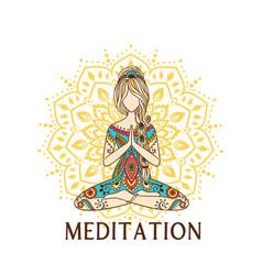 Yoga girl with mandala ornamental feminine lotus vector