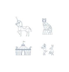 Circus line art icons vector image