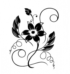 flower black a white pattern vector image vector image