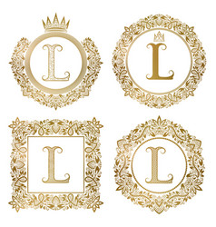 golden letter l vintage monograms set heraldic vector image vector image