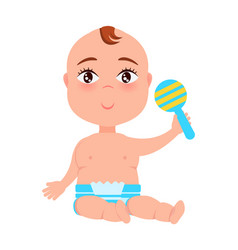 infant with plastic rattle in hand sitting vector image