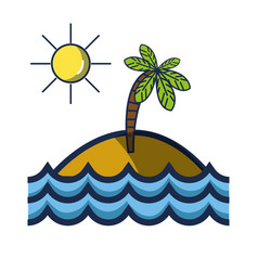 island with palm tree with sun and waves ocean vector image vector image