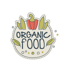 organic food logo template design badge for vector image