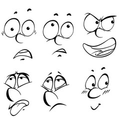six different facial expressions vector image vector image