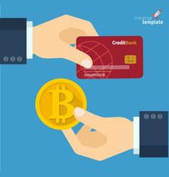 blockchain bitcoin exchange vector image