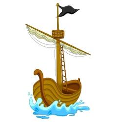 cute pirate ship cartoon vector image