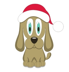 dog in red Christmas hat vector image