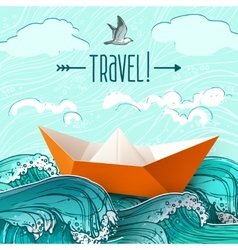 Paper Ship On Waves vector image