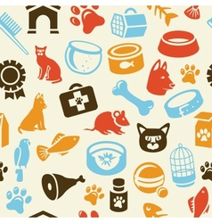 pattern with funny cat and dog icons vector image