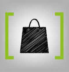 shopping bag black scribble vector image vector image