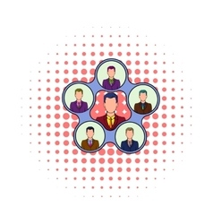 Team management icon comics style vector image