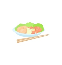 Traditional vietnamese food with chopsticks icon vector image