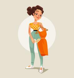 woman character choose dress flat cartoon vector image