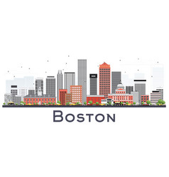 boston massachusetts skyline with gray and red vector image