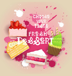 fresh desserts set banner colorful cake sweet vector image