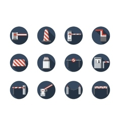 Road barriers round flat icons set vector image vector image